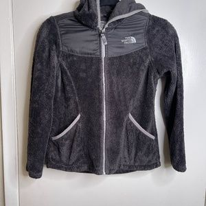 The North Face Gray Hooded Fleece Girls M Jacket
